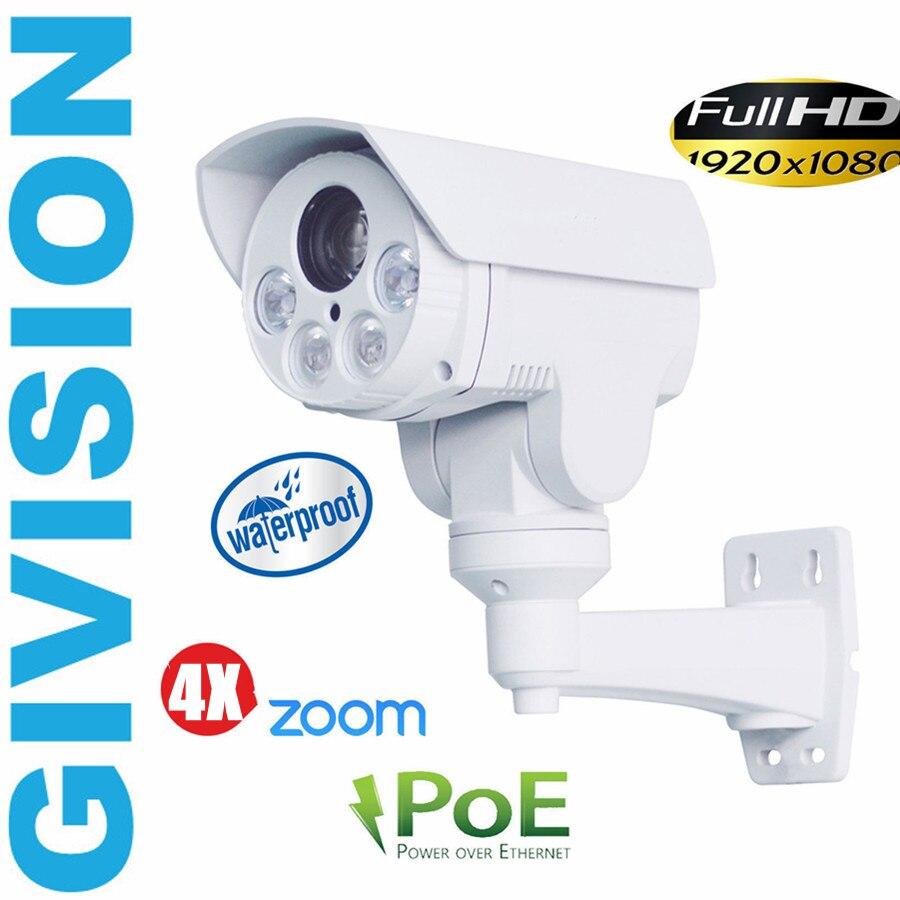 imágenes para 2mp ip mini cámara ptz 1080 P FULL HD POE ONVIF pan inclinación 4x zoom automático matriz ir al aire libre cámara de vigilancia de seguridad de red ip