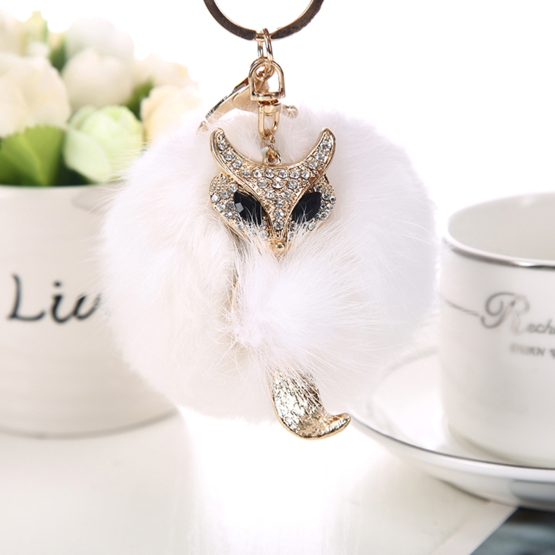 Rabbit Fur Fluffy Pompon Ball Metal Fox Rhinestone Crystal Keychain Keyring Women Car Bag Charm Keyholder Big Promotion