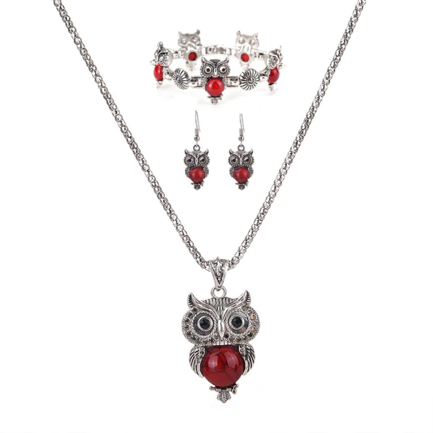 Bling-world New Fashion Elegant Bohemian Synthetic Stones Owl Earrings Bracelet Necklace Delicate Jewelry Set Gift Sep18