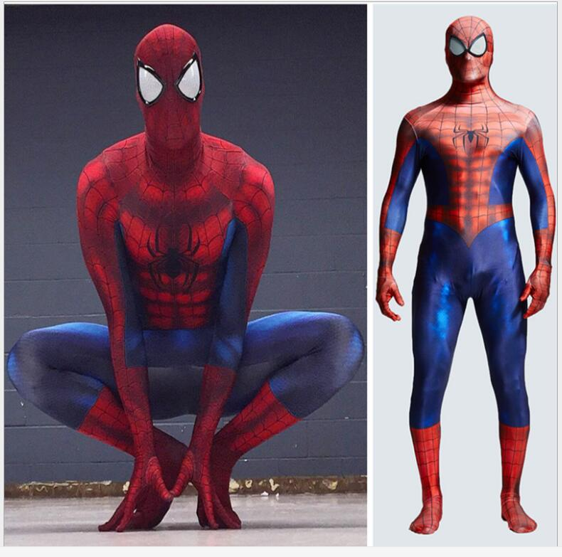 halloween fancy dress costumes for men adult spiderman spandex amazing costume spider man cosplay mask homecoming suit