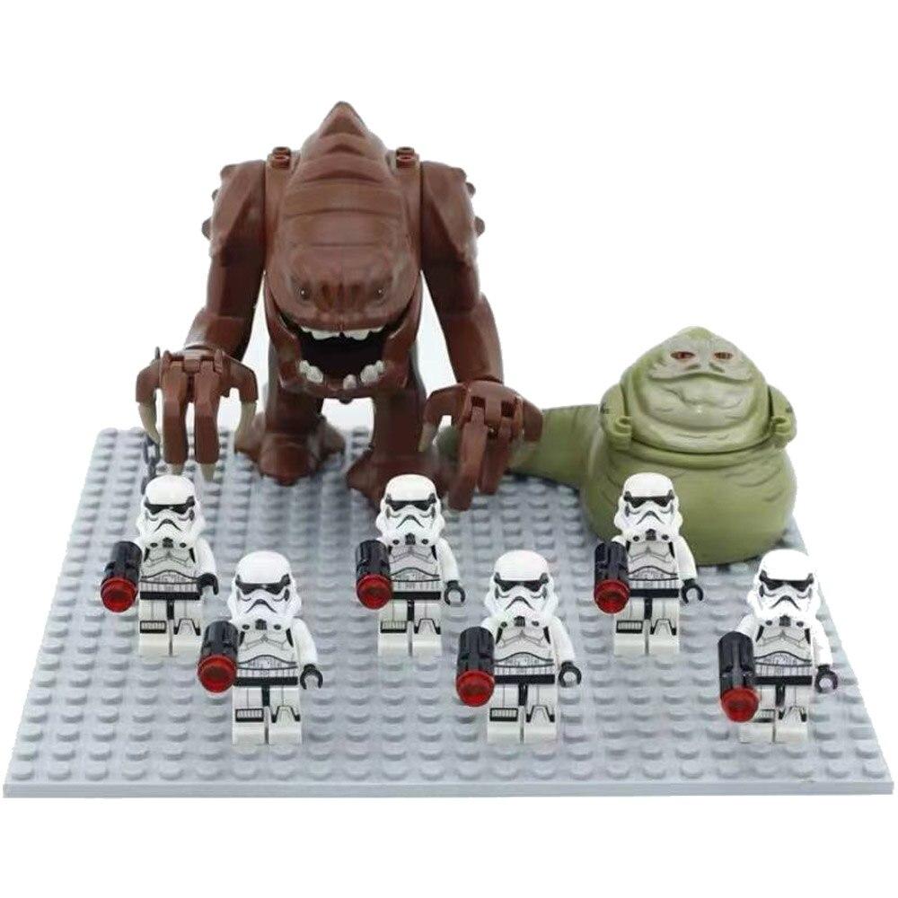 10pcs/lot Star Wars Dewback + 8pcs/lot Jabba Compatible Legoing Lepining Building Block Toys for Kid Action ROBOT Sandtroopers