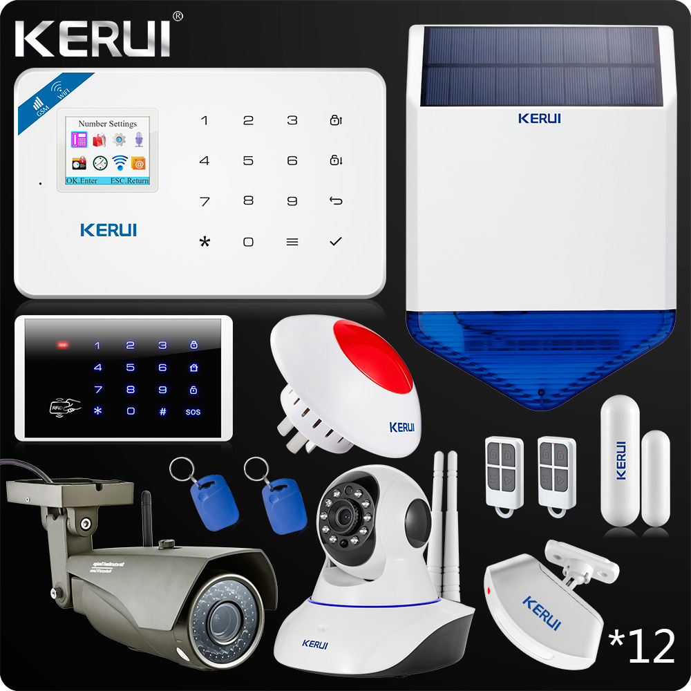 2017 W18 WIFI GSM SMS Burglar Home AlarmTouch Screen Panel Home Security Alarm System Wifi IP camera Outdoor Solar Siren etiger s3b etiger gsm sms alarm system solar power siren indoor siren ip camera super kit as same as chuango g5
