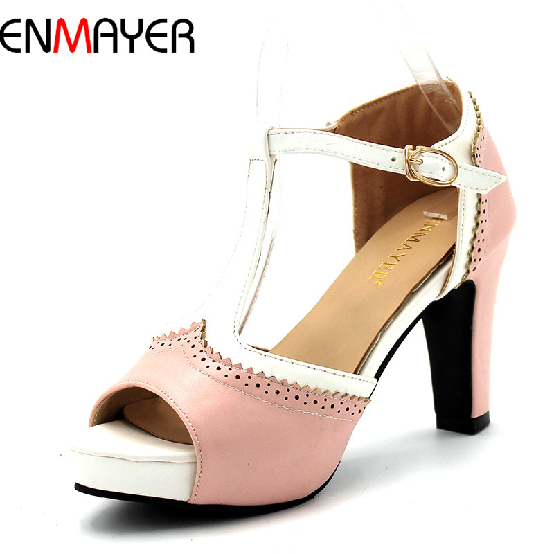 ENMAYER Women Shoes Peep Toe Pumps For Women Buckle Strap Wedding and party Shoes Girl Shoes Pink blue Shallow High Heel Shoes