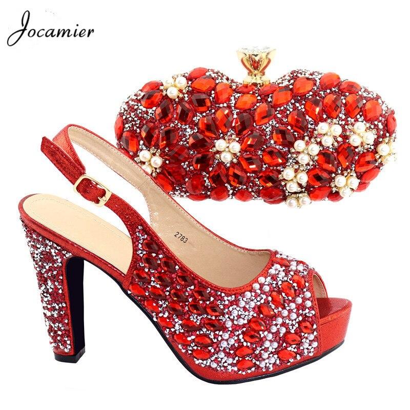 Sandale Schuhe Hohe Partei red silver Purple Qualität Kristall Nigerianischen High Heels Und Jocamier Frauen blue Set Passende Schuh 2019 Tk7 Tasche gold xzwZgES
