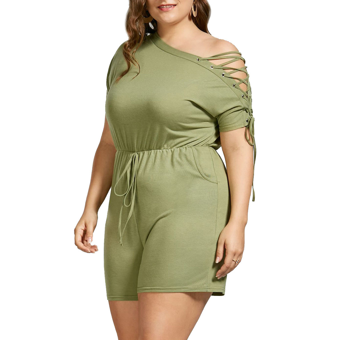 YJSFG HOUSE Fashion Women Large Plus Size 5XL Spring Playsuit Party Lace Up Jumpsuit Romper Trousers Shorts Bandage Green Hollow