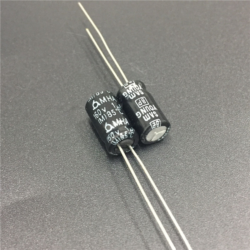 10pcs 1uF 160V SAMYOUNG MHA Series 6.3x11mm 160V1uF Bipolar Electrolytic Capacitors