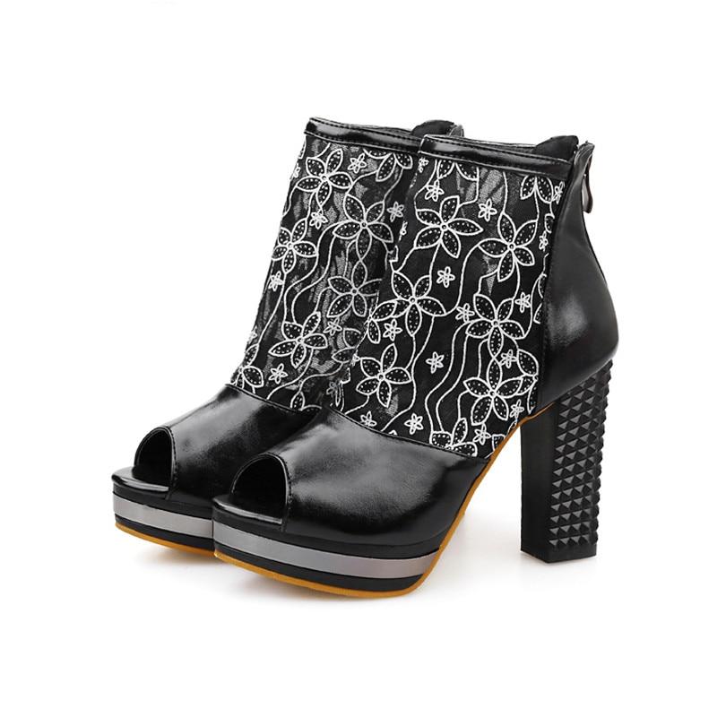 ФОТО Plus Large Size Chuncky Block High Heels Platform Women Pumps Open Toe Zipper Embroidery Mesh Party Wedding Summer Ladies Shoes