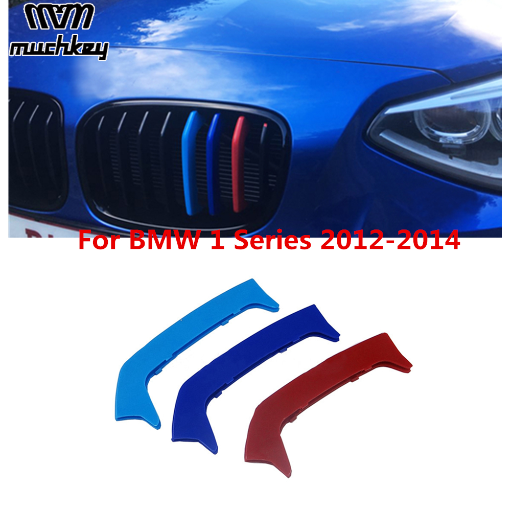 Car Front Grille Trim Performance <font><b>Stickers</b></font> For <font><b>BMW</b></font> 1 Series <font><b>F20</b></font> F21 M Sport 116i 118i 125i M 135i 2012 2013 2014 3D M 8 Grilles image