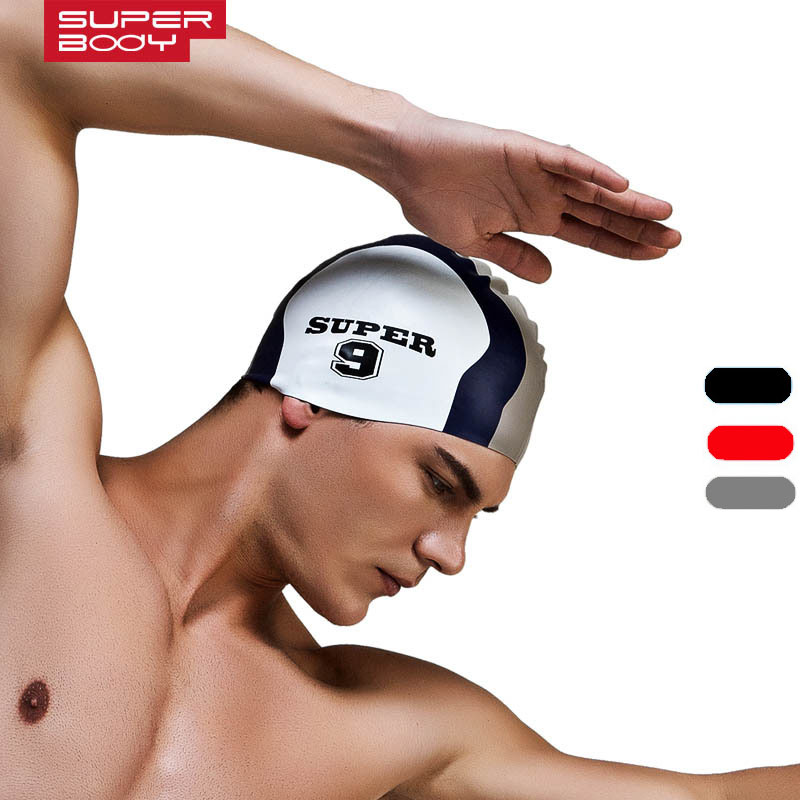 SUPERBODY 2018 Men and Women Universal Swimming Caps Brand Swimming Cap Silicone Waterproof Protect Ear Particle Swimming Cap