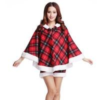 Sweet Miss Santa Christmas Cosplay Costume For Adult Female Christmas Lattice Red Dress Cloak Suit Women