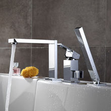 Хромированный латунный Смеситель для раковины кран ванны с выдвижным