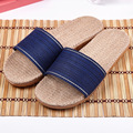 IVI Linen Slipper Lover Summer Style Floor Nonslip Breathable Indoor Slippers Men Women Shoes Flax Striped Bedroom Shoes