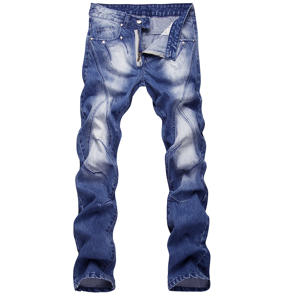Mens Skinny jeans men Runway Distressed slim elastic jeans denim Biker jeans hip hop pants Washed jeans for men blue