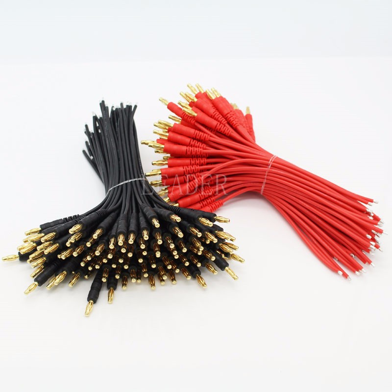 100 pairs/lot RC Parts 4.0mm Gold Plating Banana Plug 16AWG Soft Silicone Wire Switch Cable Connector 150mm
