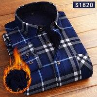 Мужские зимние рубашки с длинным рукавом, утепленные, сохраняющие тепло рубашки в клетку, Мужская Флисовая Модная Повседневная рубашка с пр