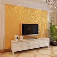 3d flocking emboss Gold yellow Rose wallpaper rolls sofa tv background 3d wallcoverings bedroom girl wedding room 3d wall paper