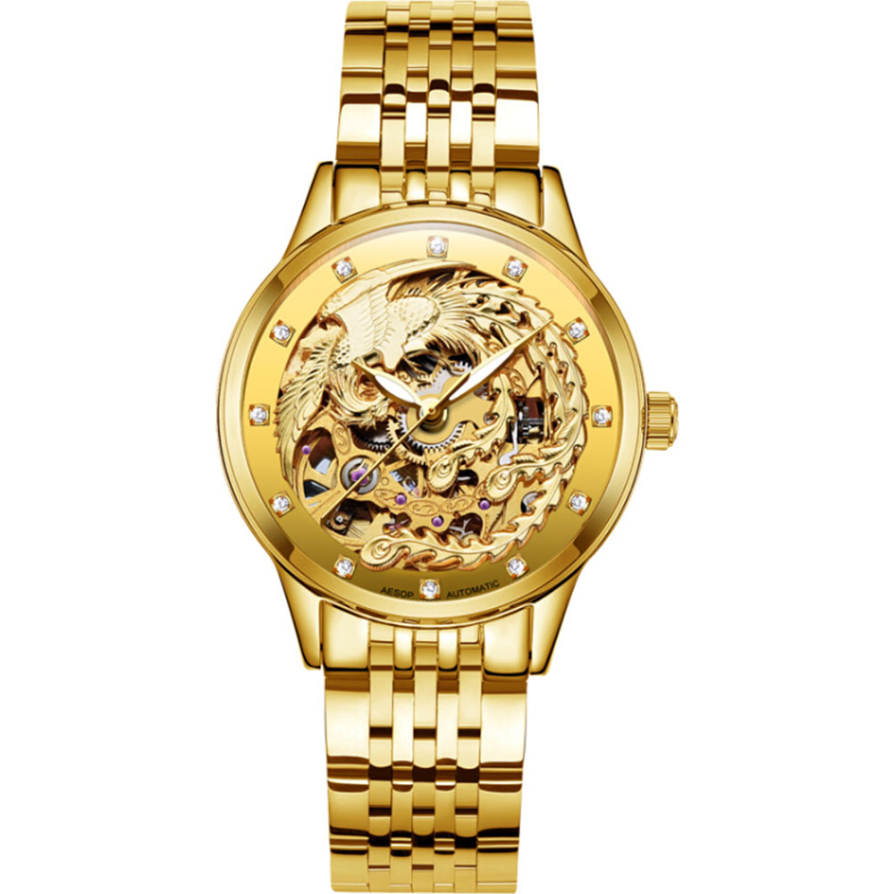AESOP Gold Watch Women Skeleton Automatic Self-Wind Diamond Luminous Chinese Phoenix Waterproof Transparent relogio feminino women favorite extravagant gold plated full steel wristwatch skeleton automatic mechanical self wind watch waterproof nw518