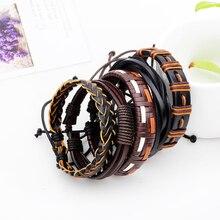 Men's Punk Leather Weave Black Multilayer Adjustable Bracelet Set