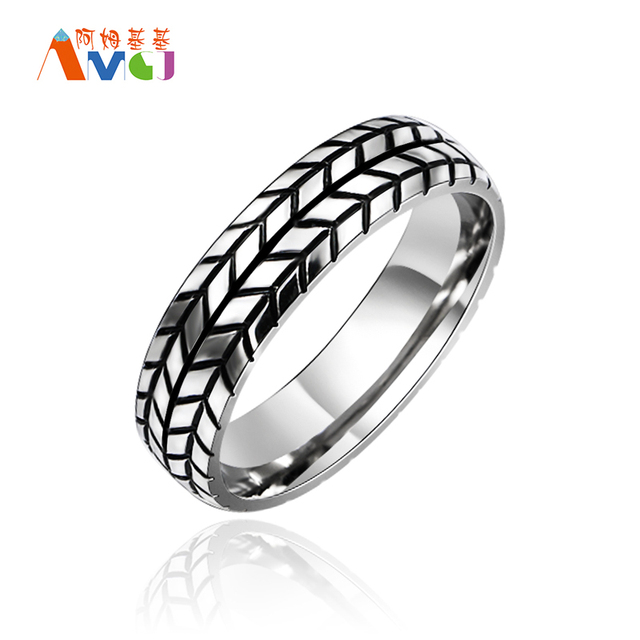 amgjca high quality 6mm mens tire ring vintage stainless steel wedding rings for male engagement band - Tire Wedding Rings