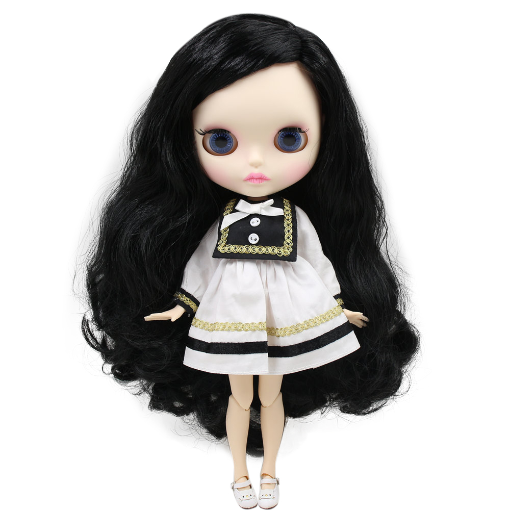 ICY Nude Blyth Doll For Series No BL117 Black hair saide part style Carved lips Matte