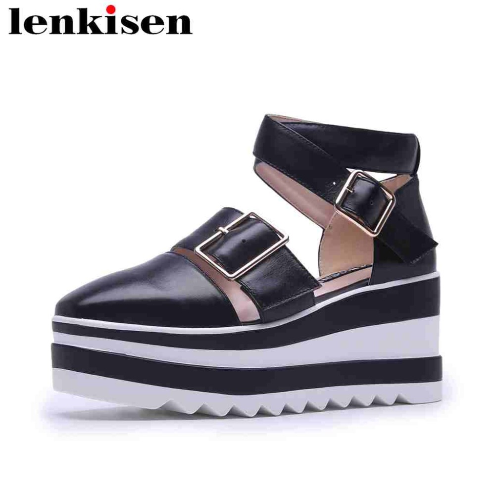Lenkisen cow leather square toe ankle strap gladiator high bottom increasing metal buckle leisure women summer