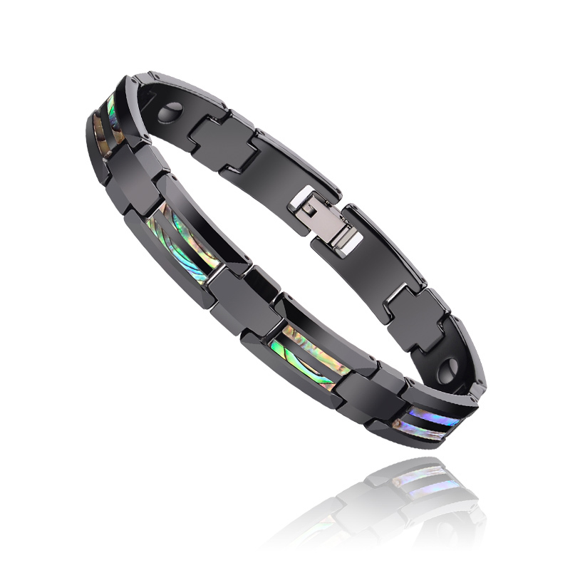 New Fashion Colorful Natural Deep Sea Shells Inlay Black Ceramic Energy Magnetic Bracelets for Man Boys