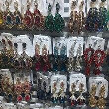 Brincos de noiva 12 pares, lotes mistos, brincos de cristal para noiva, mulheres, strass, brincos pendurados, joias para festa