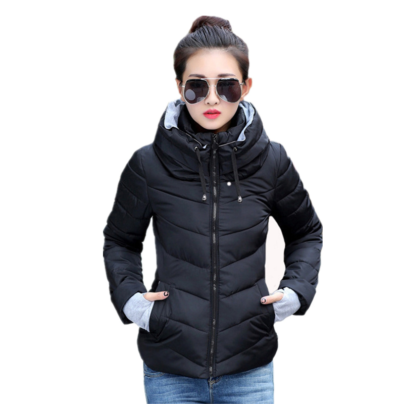 Short   Parkas   2019 Winter Jacket Women Stand Collar Cotton Wadded Jacket Female   Parka   Chaquetas Mujer Winter Coat Plus Size C3580