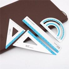 4 шт./компл. УФ алюминиевого сплава для рисования измерения в виде геометрических фигур треугольная линейка линейкой транспортир разнообразные линейки