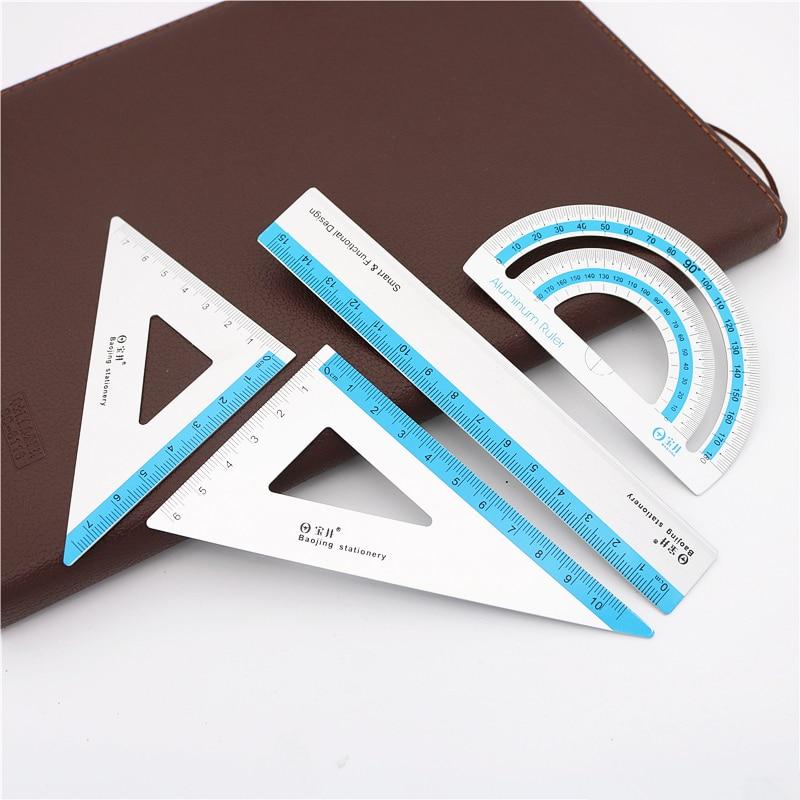 4 шт./компл. УФ Алюминий сплав чертеж линейки измерения в виде геометрических фигур треугольник линейкой угломер в различные линейки