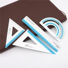 Regla de dibujo de aleación de aluminio UV, 4 unids/set, geometría, TriangleRuler, transportador de recta, variedad de reglas