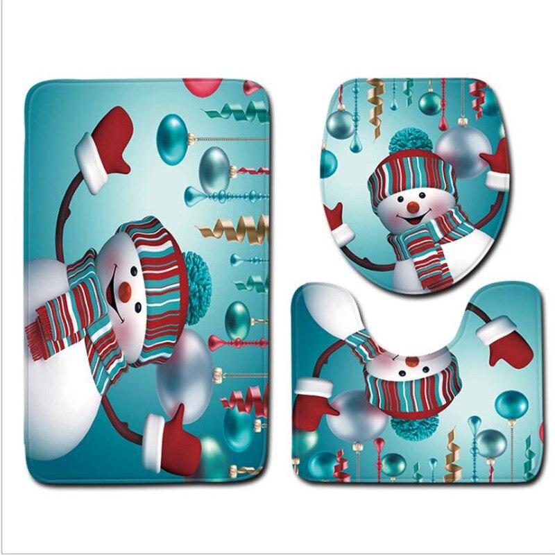 3 Pcs אמבטיה מחצלות חג המולד סדרת אנטי להחליק מחצלת אמבטיה סט פליז רצפת אמבטיה מחצלות אסלת שטיחים