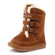 Kids Fur Baby Mid-Calf Snow Boots Boys Girls Genuine Leather Children Warm Winter Shoes Toddler Booties Solid Color Plus Velvet