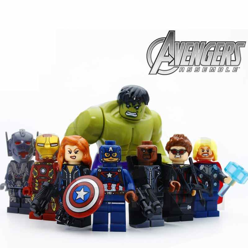8pcs/lot The Avengers Hulk Thor Captain Iron-man Black Widow Model Building Blocks Kit Children Toys Kids Gifts
