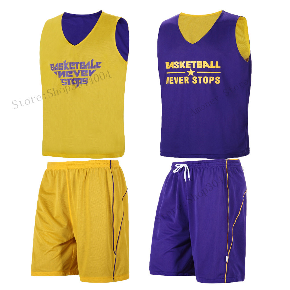 d8589bb26 Kids Reversible Basketball Jersey Sets Adult men Youth Boys Team ...