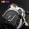 Los hombres del Deporte Del Cuarzo SKMEI Relojes Relogio masculino Reloj Militar Army Watch Fecha Banda de Cuero de Acero Inoxidable PAM Reloj