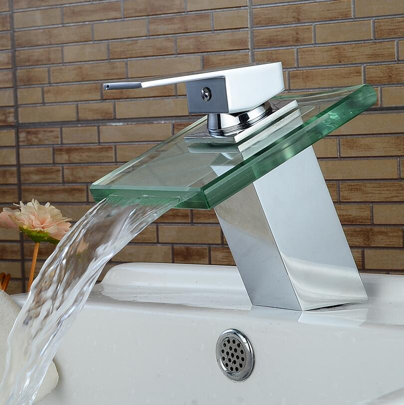 Bar Sink Faucets Basin Faucets Glass Waterfall Faucet Single Handle Basin Hot and Cold Mixer Tap Bathroom Faucet Sink Chrome bathroom basin faucets modern chrome finished bathroom faucet single hole cold and hot water tap basin faucet mixer taps