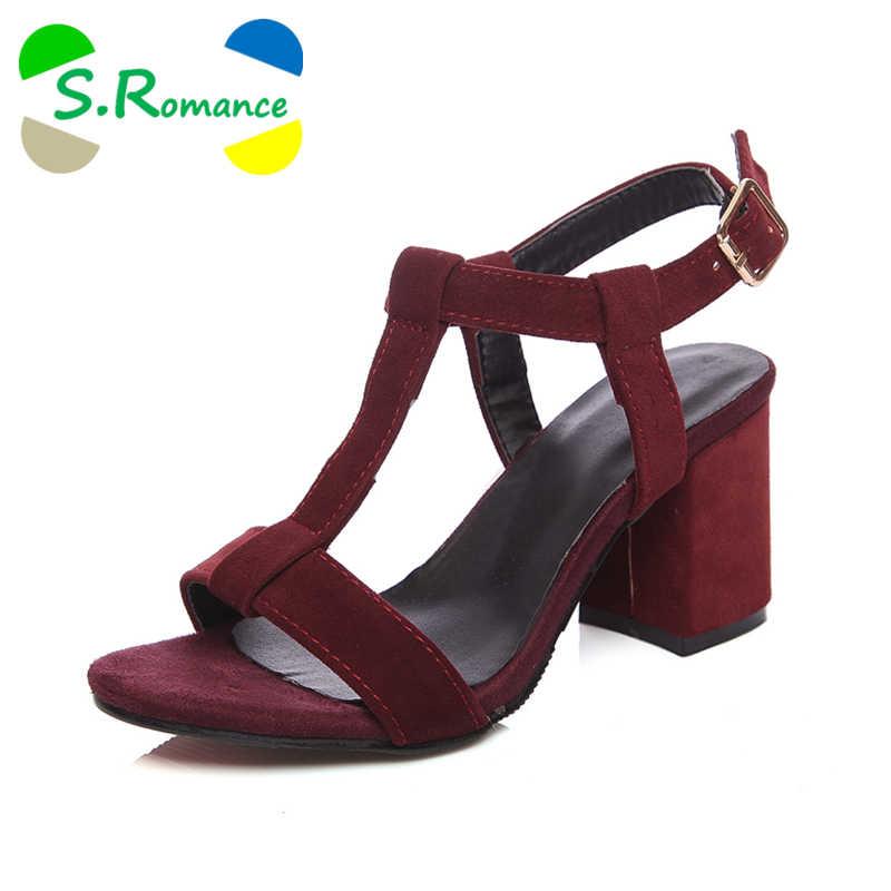 b7ba35e962292 S.Romance Women Sandals Plus Size 34-43 Fashion Summer Buckle Strap High  Heel