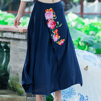 Casual Style 2016 Spring Autumn Classic Navy Blue Embroidered Women S Linen Cotton Skirts Vintage Clothing