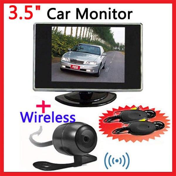 Free Shipping 5PCS/LOT,,,3.5 Inch Car TFT LCD Monitor Wireless Reverse Rearview Reversing Parking Backup IR Camera