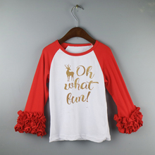 wholesale Chirstams icing ruffle shirts long sleeve icing raglan t-shirts boutique oh what fun glitter shirts for girls