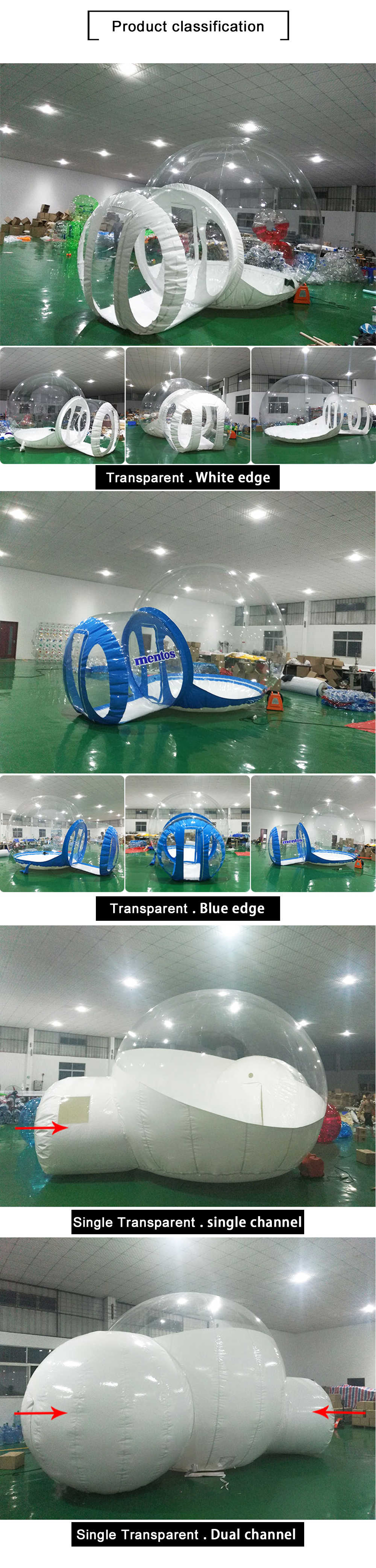 3/4/5m 10/13/16ft Outdoor Camping Inflatable Bubble Tent Large Diy House Dome Camping Cabin Lodge Air Bubble Transparent Tent 4