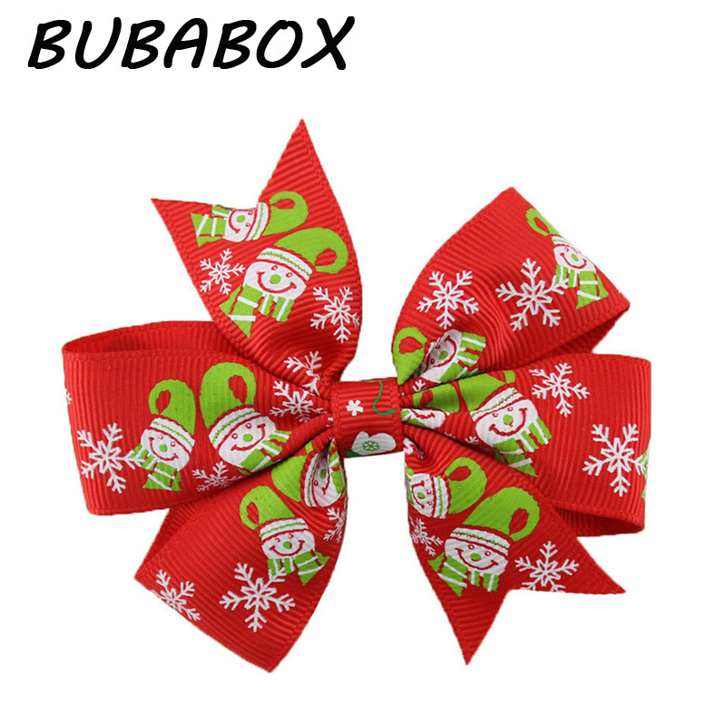 6pcs/pack Bow Large Layered Boutique Spike Christmas Bows Hairpin Clip In Red Green Party Hair Accessary Color Random