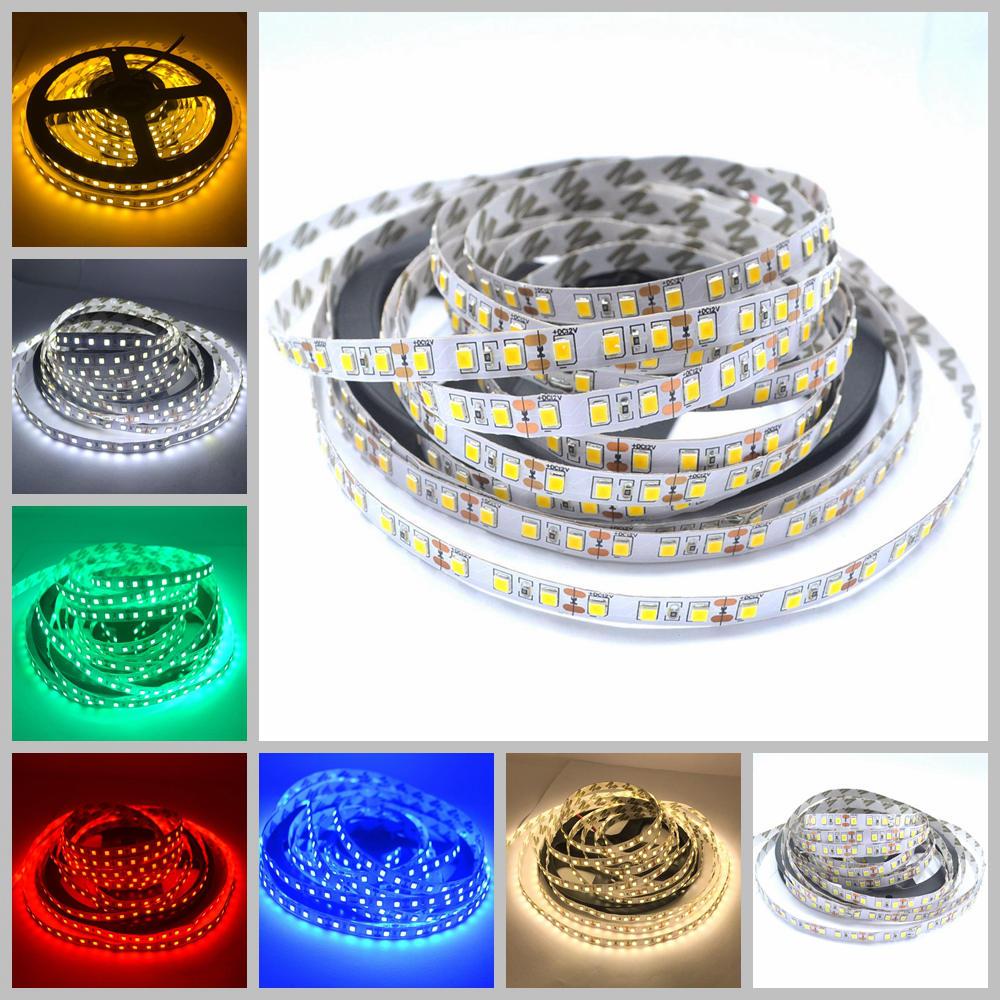 5M 2835 3528 SMD Flexible Led Strip 600 leds 120LEDS / M Luz de escritorio No impermeable Blanco cálido-blanco Rojo Verde Azul Amarillo dc 12v