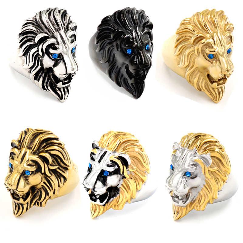 新しい男性ゴシックブルーゴールドブラック高品質ステンレス鋼パンクライオン男性のための動物ライオンのヘッドリングジュエリー卸売