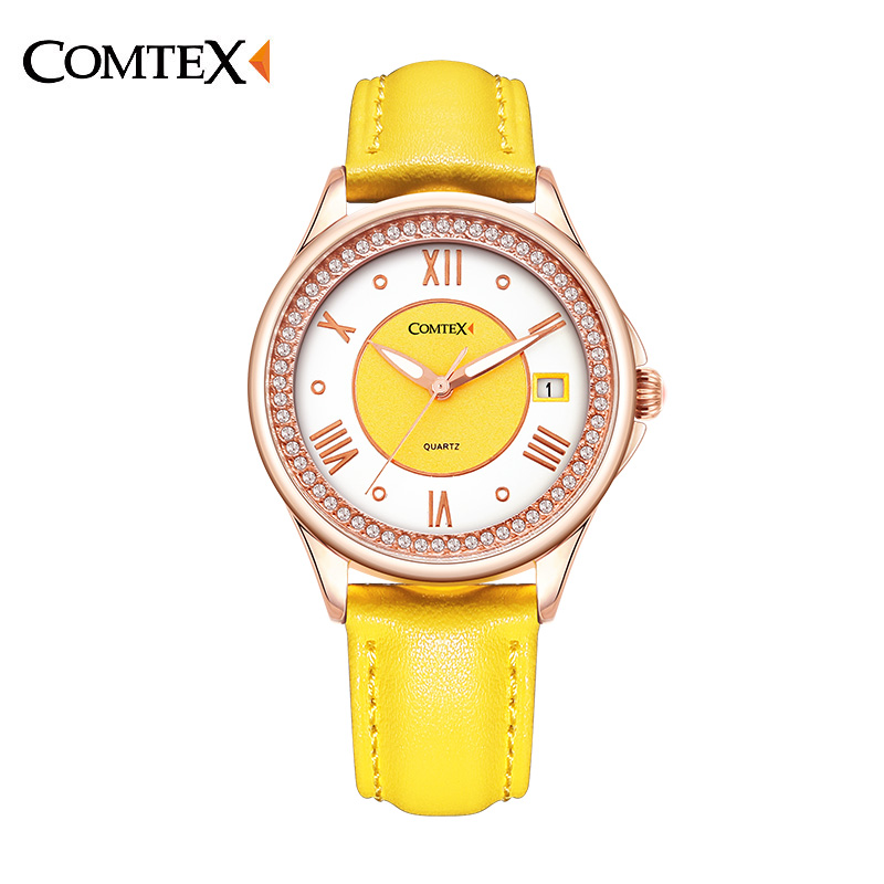 ФОТО Comtex Yellow Ladies watch Casual Silver Case Leather Strap Shell Dial Face Analog Display Quartz Watch With Calendar
