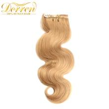 Doreen #27 Honey Blonde Clip In Human Hair Extensions 70Gram Full Head Set Brazilian Natural Remy Hair Clip Ins 100% Human Hair