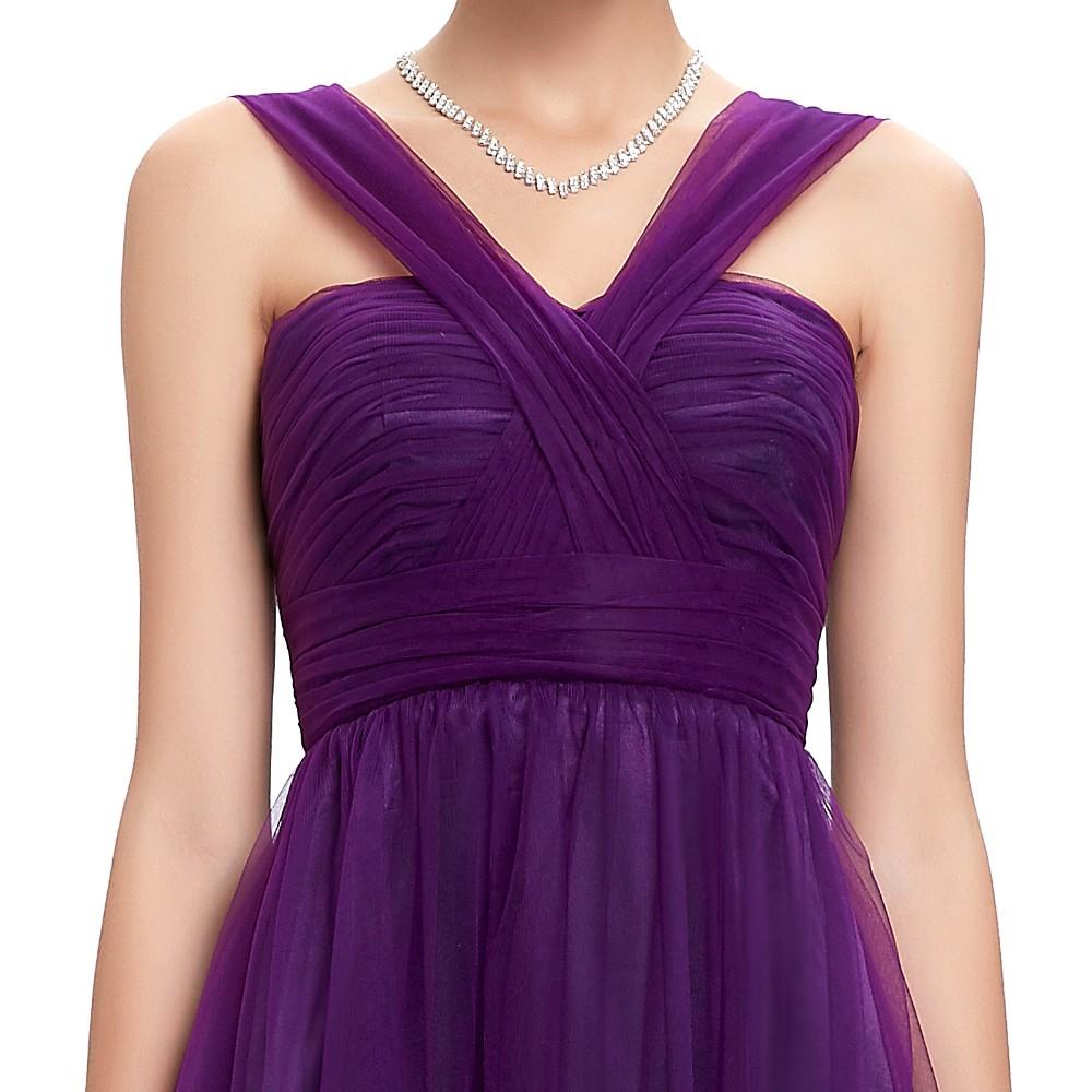 Long Purple Tulle Backless Elegant Bridesmaid Dress 2