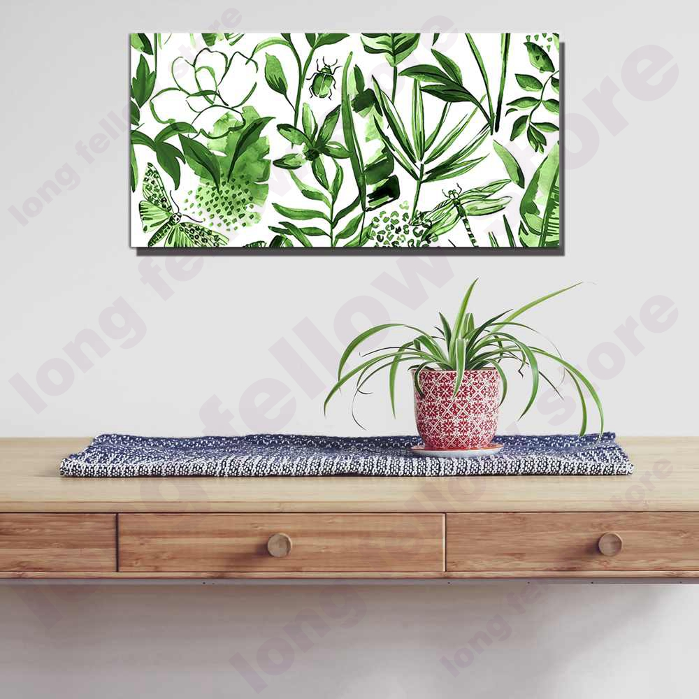 Large Green Painting Print on Canvas Nordic Poster Green Leaf Ladybug Artwork Abstract Picture for Nursery Kid Room Home Decor in Painting Calligraphy from Home Garden