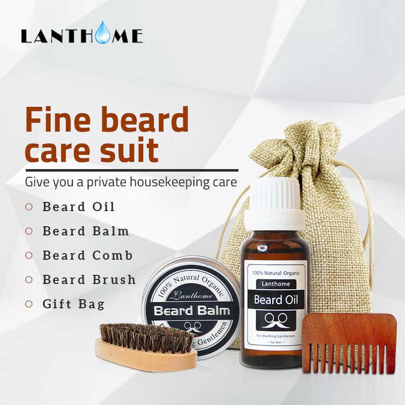 Hommes barbe huile baume Moustache cire pour coiffer cire d'abeille hydratant lissage messieurs barbe soin avec barbe brosse peigne bois ensemble